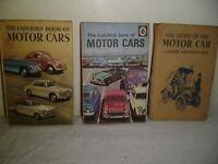 3 1960'S LADYBIRD BOOKS.MOTOR CARS 1960.MOTOR CARS 1968.THE STORY OF THE MOTOR CAR 1962