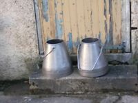 a pair of stainless steel milking buckets for sale