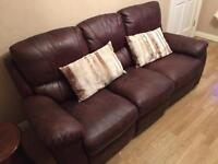 3 Seater Recliner Brown leather sofa. Average condition.