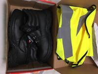 High vest and safety shoes size 5