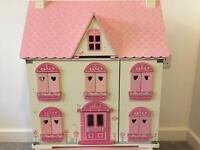 ELC rosebud wooden dolls house with extras