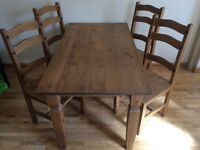 Mexican Pine Dining Table & 4 chairs