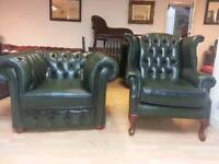 excellent condition 2pieces green leather Chesterfield club chair and high bage Quinn Anne armchair