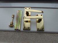 Door handles, brass, 4 pairs