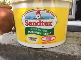 Sandtex Masonry Paint in Cornish Cream Unopened 10 litre tub. Surplus to requirements £25
