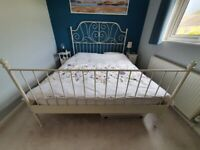 King size bed IKEA metal white