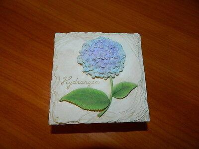 Hydrangea Plant On Stone Looking Box Trinket Jewelry Seed Flower Garden Holder