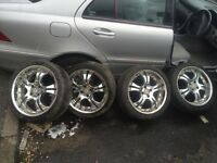 17 inch chrome alloy wheels 4 stud rims - bargain £125 Ono. Very good tyres