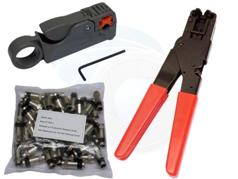 50pcs RG6 Compression Connectors Compression Tool w/ Cable Stripper