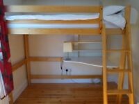 Loft bed with desk and futon underneath