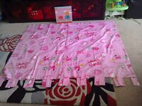"""NEXT PINK PEPPA PIG TAB TOP CURTAINS 66""""X 54"""" AND PICTURE"""