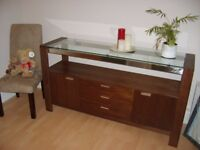 Contemporary Dark Wood and Glass Sideboard