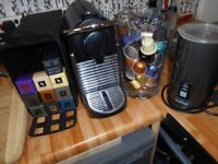 nespresso magimix titanium coffee machine with milk frother lots of pods
