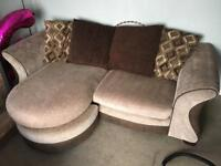 DFS 3 seater sofa with chaise and swivel cuddle chair