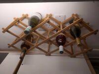 Wine rack - folding wooden 10 spaces