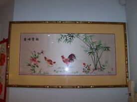 "Lovely Traditional Handmade Oriental Embroidered Silk Artwork, ""Wild Chickens in Nature"