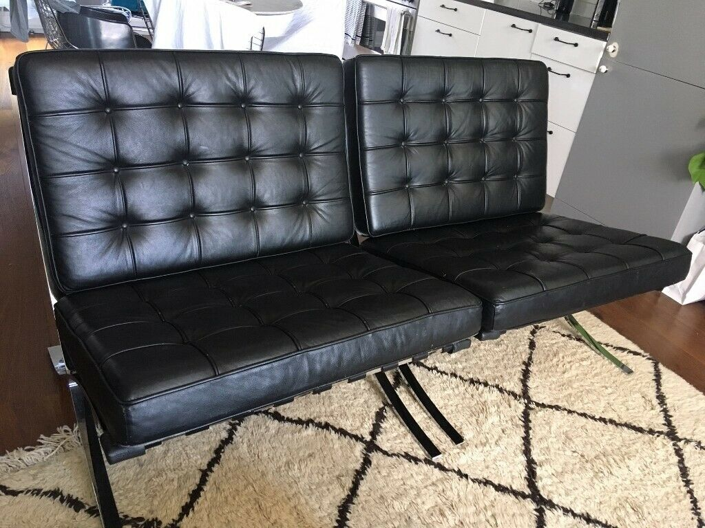 Sensational Pair Of Real Leather Replica Barcelona Chairs In Notting Hill London Gumtree Ncnpc Chair Design For Home Ncnpcorg