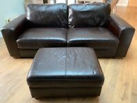 Next Faux Leather Sofa and Foot Stool