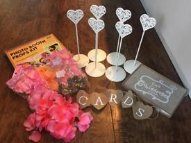 Wedding bundle - table place holders, guest book, card sign, petals, photo props,