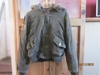 Ladies khaki hooded cord bomber jacket size 12 by Alibi