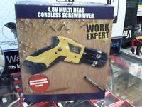 WORK EXPERT 4.8v MULTI HEAD CORDLESS SCREWDRIVER, BOXED