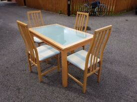 Frosted Glass & Solid Wood Dining Table 120cm & 4 Tapley Chairs FREE DELIVERY 470