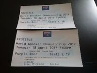 2 world Snooker Championship tickets 18th April 7Pm