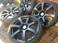 20 inch Gloss Black 5x112 Alloy wheels with new tyres Merc VW Audi fit.