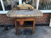 Wood and Real Slate Garden Table