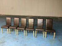 6 x brown leather dining table chairs (item 8)