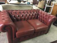 Vintage Red Leather Chesterfield Sofa.
