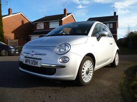 Fiat 500 1.2 Lounge 2011 reg WP11USH (WPLLUSH) low mileage. Silver . £30.00 Tax . Air con.