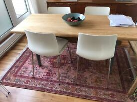 4 white and chrome dining chairs
