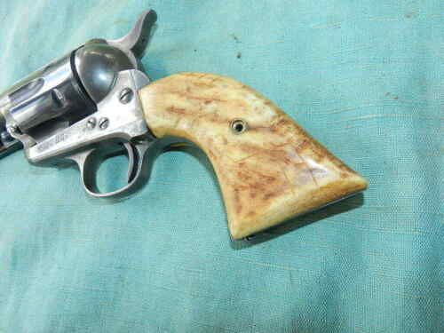 Vintage 19th Century Bone Colt SAA grips with screw
