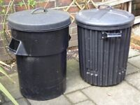 FREE - 2 DIFFERENT OLD STYLE BLACK DUSTBINS, PERFECT FOR COMPOSTING OR GROWING STRAWBERRIES IN