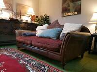 Tetrad Eastwood Stunning brown leather and velvet fabric 3 seater sofa (quality sofas and suites)
