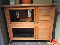 Wooden two level rabbit hutch