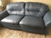 FREE Three Seater Blue Leather Sofa FREE