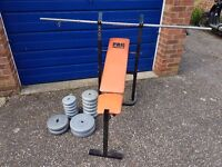 INCLINE PRESS BENCH PLUS SELECTION OF WEIGHTS (41KG's in total) INCLUDING A BAR