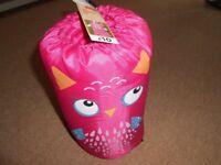 Childs pink owl sleeping bag