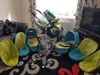 Icandy double pram with extras in sweet pea