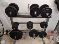 Large selection of weights equipment. Weight plates, threaded bars and spinlock collars.