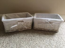 Wicker storage baskets - pair in white