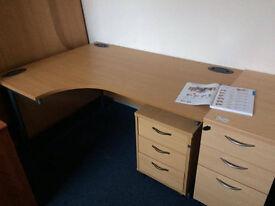 3 x Left Hand Beech Ergo Desk