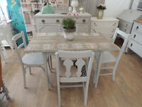 Vintage industrial shabby chic style dining table with 4 chairs