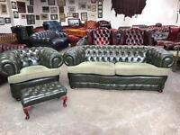 Fantastic vintage green leather chesterfield 3 piece suite coil sprung UK delivery
