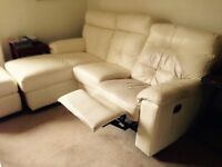 Ivory leather recliner sofa, reclining armchair & footstool.