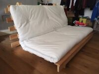 Futon/ sofa bed, in good condition, wooden frame with matress