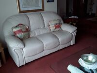 TWO AND THREE SEATER LEATHER SOFAS - CREAM