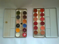 KRYOLAN Prof Make-up Artists GREASE-PAINT PALETTES (2) Part Used + 4 new refills: Theatre/SFX Makeup